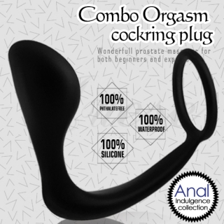 lovetoy-Combo Orgasm Cockring Plug 後庭前列腺鎖精環+指型肛塞